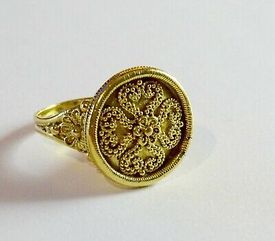 Vintage 22k Solid Gold Exceptional Fancy Pattern Ring  9.6 grams Size 8 1/2 22k Gold Fancy Ring