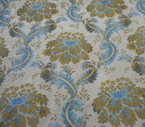 Vintage Retro French Floral Brocade Furnishings Upholstery Fabric  ~ Blue Olive