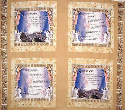 Angel God Religious Amazing Grace Hymn Lyrics Cotton Fabric CP50414 35