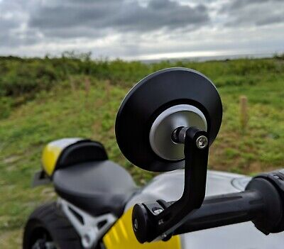 HJR PRODUCTS CNC ROUND BAR END MIRRORS TRIUMPH STREET TWIN PAIR GENUIN