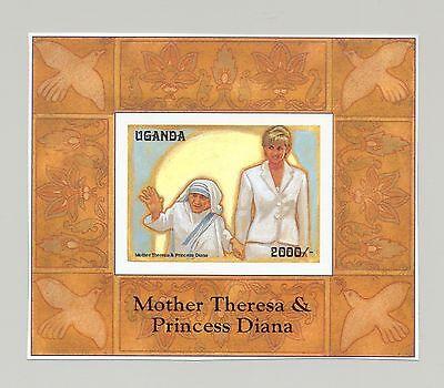 Uganda #1536 Mother Theresa, Princess Diana 1v S/S Imperf Chromalin Proof