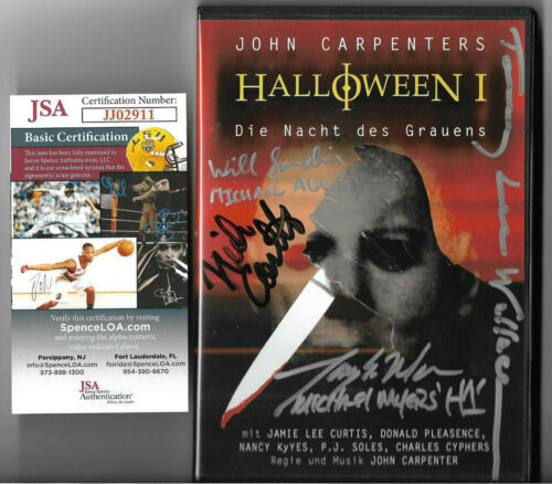 Halloween Cast Signed DVD Auto, Nick Castle, Tony Moran, Wallace, Sandin JSA COA