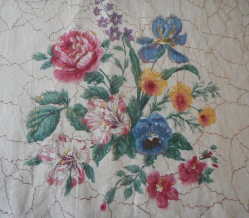 Antique 19thc English Block Printed Botanical Floral Cotton Fabric ~