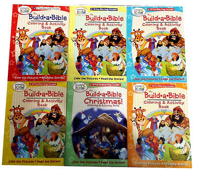 Build a Bible Coloring Books Religious Activity Book Christmas Christian 6 Pack