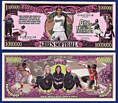 1-Girls Softball Dollar Bill -Baseball Bat Novelty Collectible  Fake Money B2 - Fake Baseball Bat