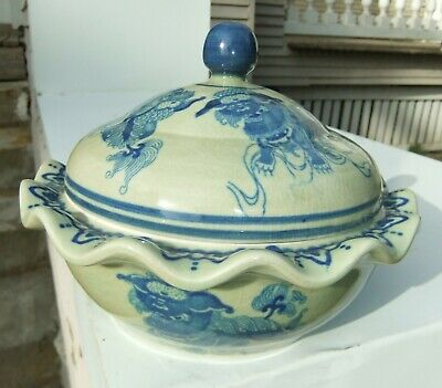 Modern Blue on Parchment Chinese 9 Foo Dogs Covered Signed Porcelain Bowl