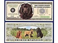 FAKE 2 MONEY-X1 Irish Setter Dog Dollar Bills Puppy Collectible