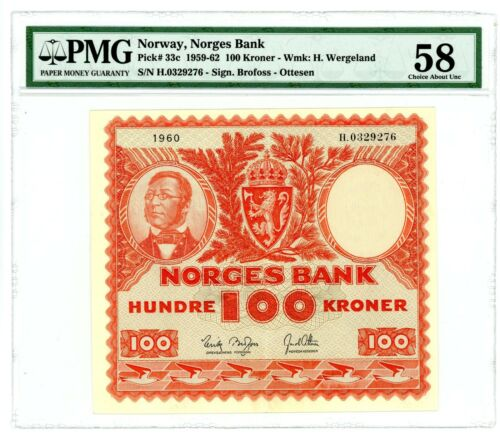 Norway ... P-33c ... 100 Kroner ... 1959-62 ... *AU* ... PMG 58