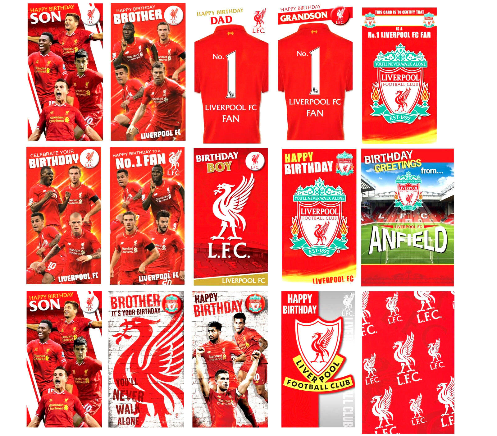 Details About Official LIVERPOOL FC FOOTBALL Birthday Cards Son Brother Dad Other Gift Wrap