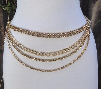 Vtg. Gold Tone Four Different Chain Swag Chain Belt