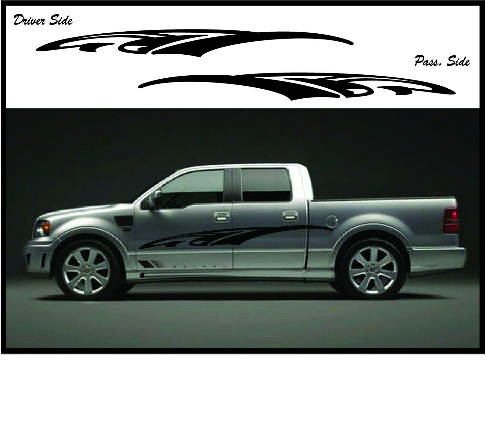 Details about truck side stripe kit car suv racing sport decals dodge fits all trucks