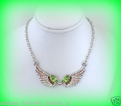 AUGUST BIRTHSTONE PERIDOT GREEN CRYSTAL SILVER ANGEL WINGS NECKLACE PENDANT Crystal Birthstone Angel Pendant