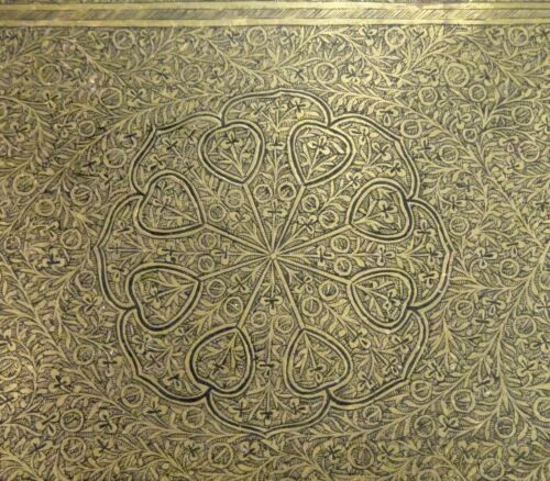 "Antique Islamic Persian Engraved Brass Tray 24"" 61cm  -  58816"