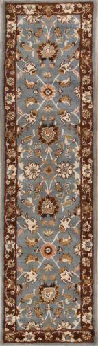 LIGHT BLUE 12 ft Hall-Way Runner Floral Hand-Tufted Oriental