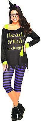 Hexe Kopf in Charge Damen Erwachsene Süß Halloween Kostüm