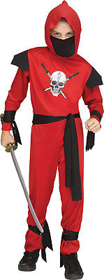 Red Skull Ninja Boys Child Secret Agent Halloween Costume