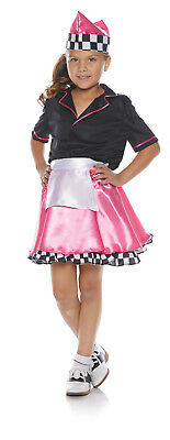 50S Car Hop Diner Girls Child Waitress Halloween Costume - Car Hop Girl Halloween Costume
