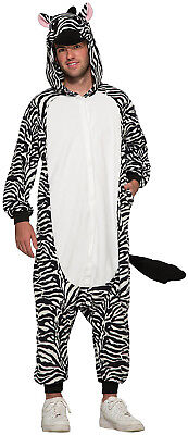 Zebra Adult Pajama Animal Halloween Zip Up Costume-Std](Zebra Costume Adult)