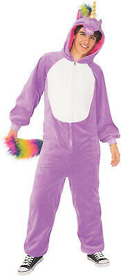 Lila Einhorn Erwachsene Bequem mit Kapuze Pyjama Overall (Bequem Kostüm)