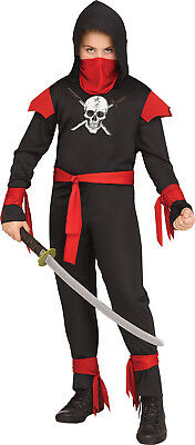 Black Skull Ninja Boys Child Secret Agent Halloween Costume