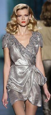GORGEOUS CHRISTIAN DIOR SILVER METALLIC LAME LACE BEADED RUNWAY DRESS IT 44  US8 - Silver Lame Shorts