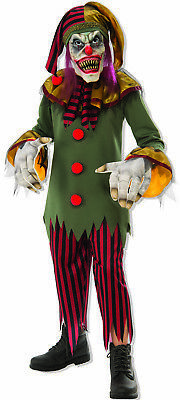 Crazy Creepy Killer Clown Medieval Jester Boys Scary Halloween Costume (Clown Costumes For Boys)
