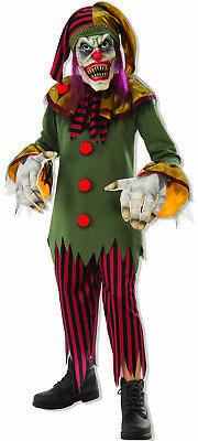 Crazy Creepy Killer Clown Medieval Jester Boys Scary Halloween Costume - Scary Clown Halloween Costumes For Boys