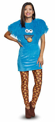 Sesame Street Cookie Monster Costume Deluxe Women's Blue Fancy Dress MD-LG