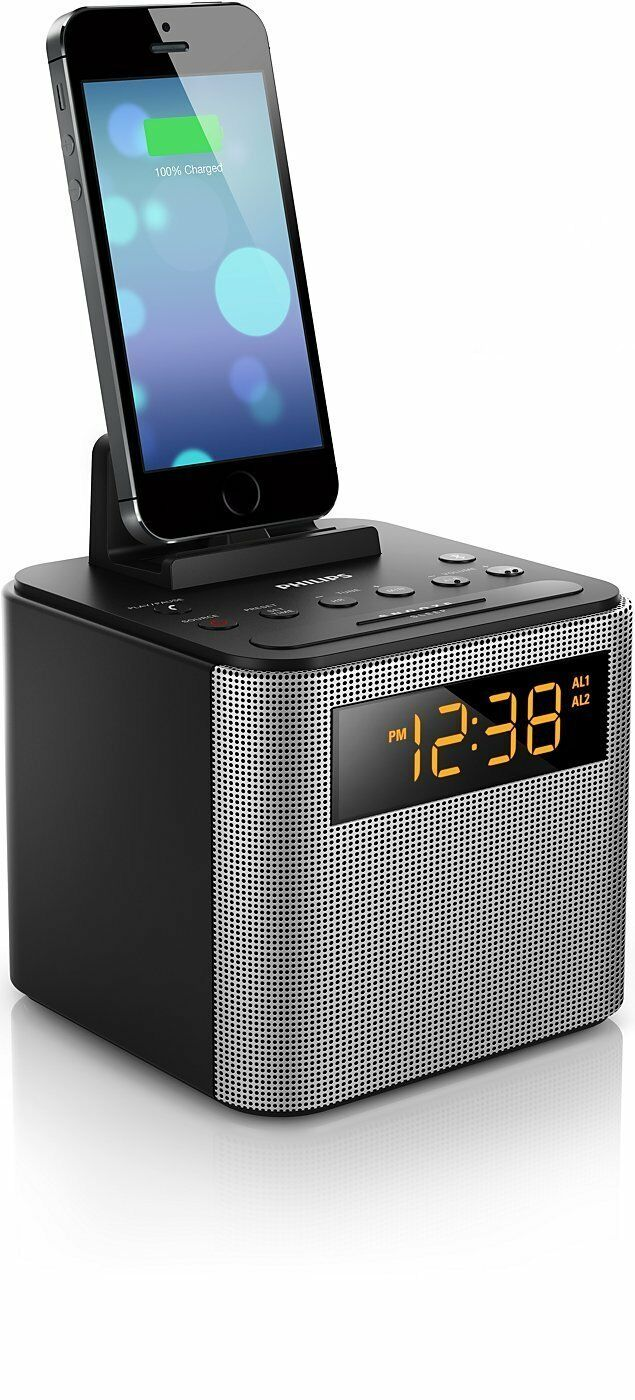 Philips Bluetooth Speaker Dual Alarm Clock FM Radio Built-in MIC USB Charger New