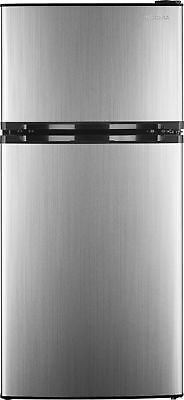 Insignia- 4.3 Cu. Ft. Top-Freezer Refrigerator - Stainless steel - Freestanding Top Freezer Freezer