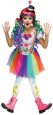 Crazy Color Clown Girls Child Silly Circus Jester Halloween Costume