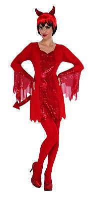 Devil Womens Adult Red Evil Demon Lucifer Halloween Costume