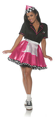 Pink Car Hop Womens Adult 50S Diner Waitress Sock Hop - Car Hop Costume