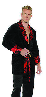 Hugh Hefner Halloween (Smoking Jacket Mens Adult 60s Hugh Hefner Halloween)