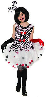 Harlequin Clown Girls Evil Circus Jester Halloween Costume