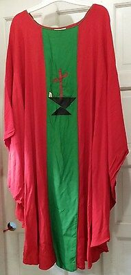 LITURGICAL CLERGY CHASUBLE MATCHING STOLE VESTMENT RED LIGHTWEIGHT CROSS FLAME