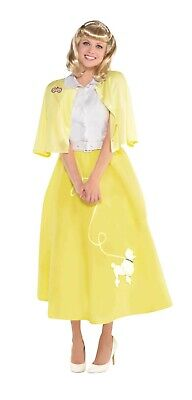Sommer Nights Sandy Damen Erwachsene Fett Film 50er Jahre Style Gelb - Sandy Kostüm Fett