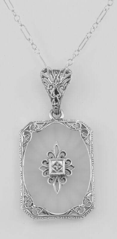 Frosted Crystal Camphor Glass Filigree Diamond Pendant Sterling Silver & Chain