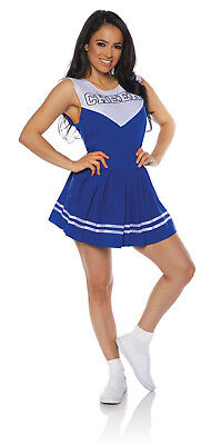 Blue Cheer Womens Adult Cheerleader Sporty Halloween Costume - Adult Cheerleader