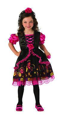 Zucker Schädel Mädchen (Tag der Toten Mädchen Skelett Seniorita Zuckerschädel Halloween Kostüm)