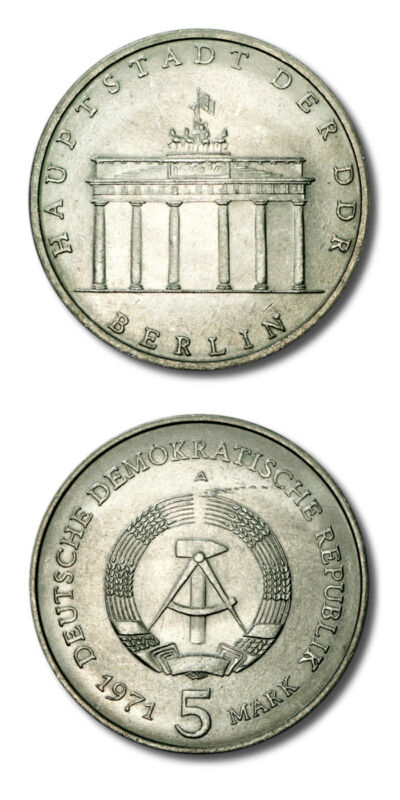 Germany  GDR Brandenberg Gate 5 Mark 1971A BU KM-29