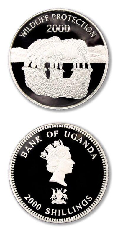 Uganda Zebras 2000 2000 Shillings Proof Silver Crown