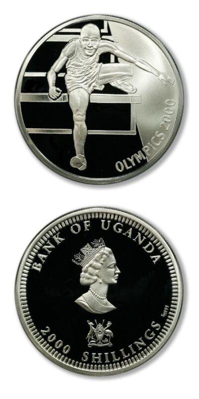 Uganda Summer Olympics Hurdler 2000 Shillings 2000 Proof Silver Crown