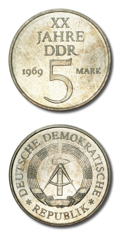 Germany  GDR 20th Anniversary of the GDR 5 Mark 1969 BU KM-22.1a