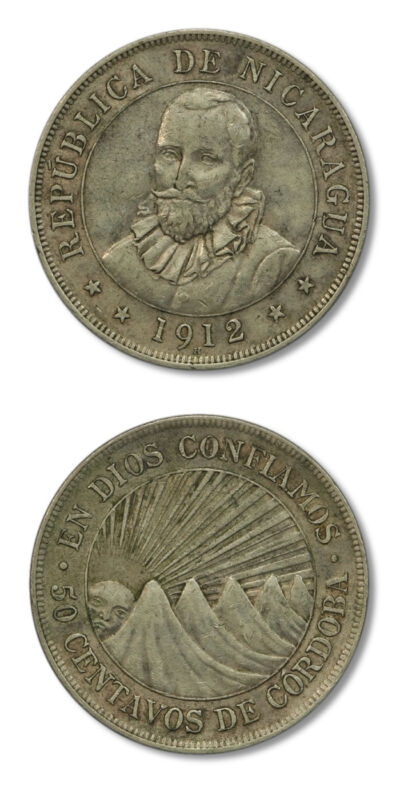 Nicaragua Francisco Hernández de Córdoba Rising Sun 1912 50 Centavos Silver Crow