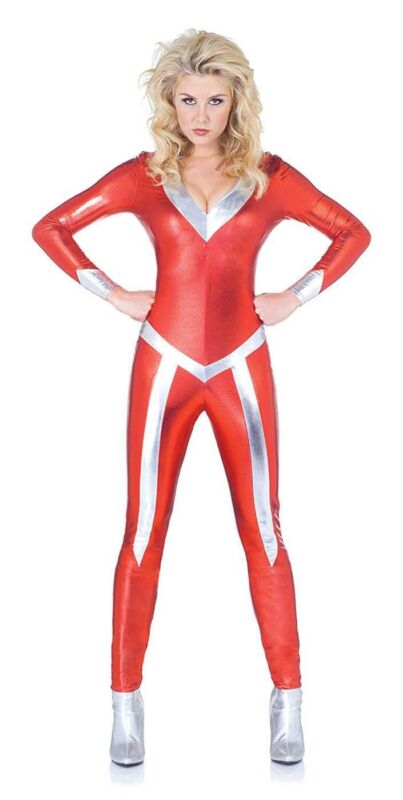 Sexy Red Silver Flame V-Neck Metallic Bodysuit Jumpsuit Womens Superhero