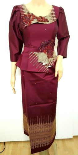 Cambodia Khmer Traditional Out fit Women Size M Burgundy Formal Korean silk Sets