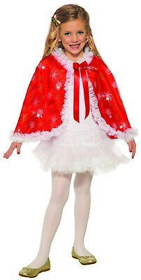 Red Girls Child Christmas Sparkle Holiday Party Cape