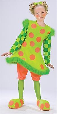 GIRLS LOLLI THE CLOWN NEON POLKA DOTS HOOP COSTUME NEW - Clown Lolli Kostüm