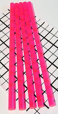 5 Pcs 12 X 12 Clear Pink Fluorescent Acrylic Plexiglass Rod .5 Inch Diameter